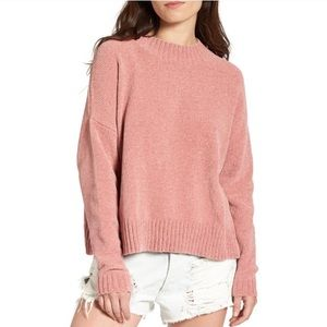 bp Chenille Pink Mock Neck Boxy Sweater